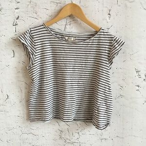 MADEWELL BROWN WHITE STRIPE CROP TOP M